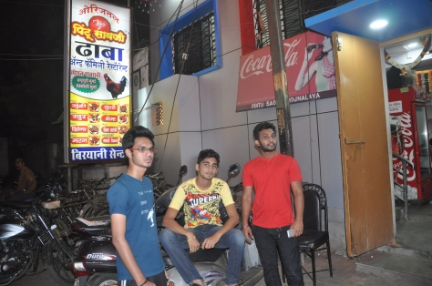 Rahul the owner in the Red T-Shirt along with his customers